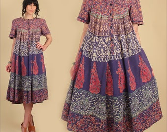 ViNtAgE Indian Cotton Dress // Bohemian 70's India Block Printed Print Draped Dress // Hippie Boho M