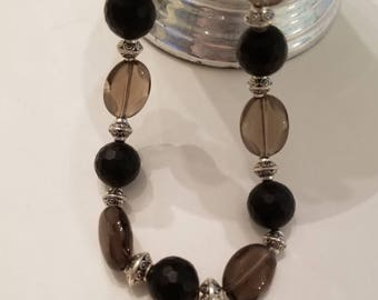 Black necklace, gray necklace, Smokey quartz necklace, onyx necklace, gemstone necklace