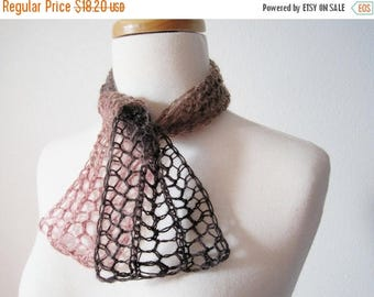 First Fall Sale - 15% Off Bittersweet Brown and Blush Hand Knit Scarflette / Mini Scarf / Alice Band Headwrap - Brown and Pink Wool Blend Ya