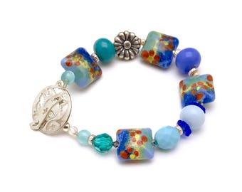 Blue Floral  Lampwork Boho  Beaded Bracelet  with Sterling Silver, For Her Under 160 US Free Shipping and Gift Wrap