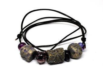 Handmade beads. Lilac/greybead set /necklace/bracelet for vikings