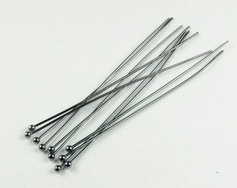 SHOP SALE 2 inches 24 gauge Black Rhodium over 925 Sterling Silver Ball Headpins Head Pins 50mm, 24g 24ga, Jewelry Findings (25 pieces)