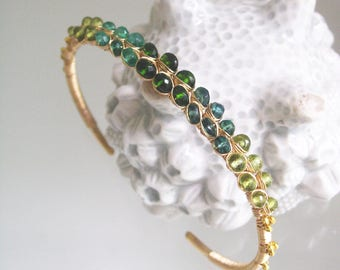 Green Gemstone 14k Gold Filled Cuff, Stackable Bracelet with Peridot, Apatite, Tsavorite, Signature Original, Made to Order