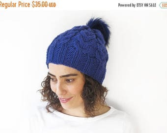 20% WINTER SALE Violet Hand Knitted Hat with Pom Pom