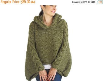20% WINTER SALE Plus Size Knitting Sweater Capalet with Hoodie - Over Size Tweed Green Cable Knit by Afra