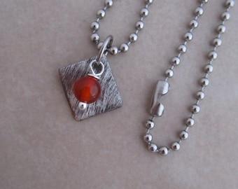carnelian necklace orange silver soldered copper girls women