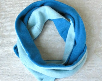 Cashmere Infinity Scarf, Eco Friendly Repurposed Cashmere Sweater Scarf, Aqua and Turquoise