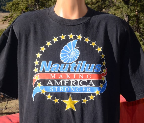 vintage 90s t-shirt NAUTILUS gym weights workout fitness stronger black tee XXL xl 2xl