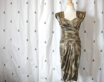 Vintage Black and Gold Metallic Leopard Print Dress, 1980s, Fitted, Wrap Skirt, Size Small, Night Way