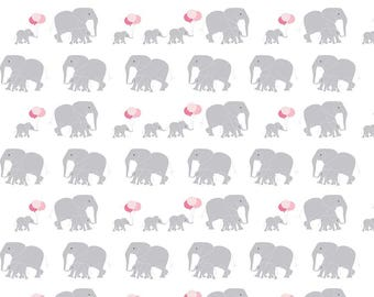 Safari Party Elephants White - Safari Party Fabric by Melissa Mortenson for Riley Blake - grey and pink elephant print - 100% cotton