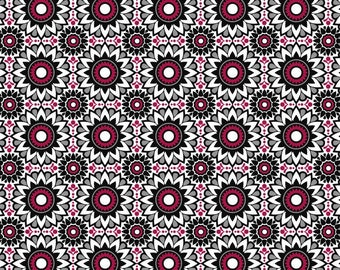 Balinese Balance in Black Red White, Geometric, by David Textiles 100% Cotton -  FAT QUARTER