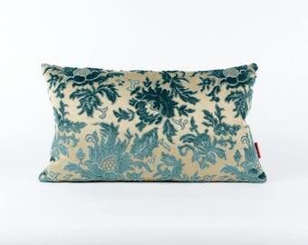 Blue Velvet Lumbar Pillow Cover 20x12 - vintage upholstery fabric, designer pillow, mid century home decor,  handmade by EllaOsix