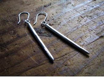 Large Simple Sterling Silver Spike Earrings