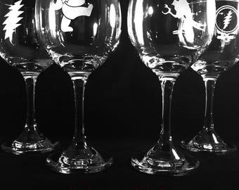 Grateful Dead Red Wine Glass Set of 2 Glasses Sand Etched Engraved Gift