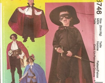Halloween Costumes, McCalls 3746, Sewing Pattern, Mens Costumes, Size S M L XL, Pirate Costume, Swashbuckler,Vampire Costume,Sewing Supplies