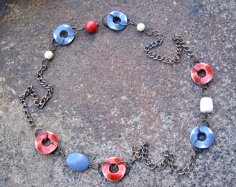 Eco-Friendly Statement Necklace - Ripple Effect - Recycled Vintage Chunky Brass Chain, Plastic Beads in Brick Red, Slate Grey & Off-White