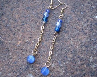 Eco-Friendly Dangle Earrings - Blue Streak - Recycled Vintage Delicate Goldtone Chain and Glass Beads in Various Shapes and Shades of Blue