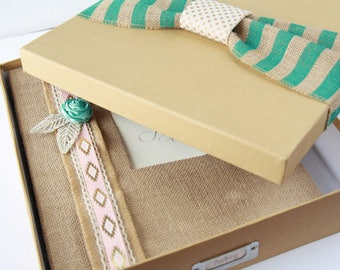 Keepsake Box - Gift Box - For Baby Memory Book, Teal and Gold