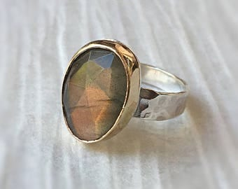 Gold Labradorite Ring, 14kt Gold Filled and Silver, Gemstone Ring, Statement Ring, Sterling Silver Ring, Gift for Her, Crystal Ring