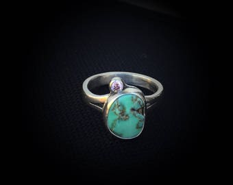 Turquoise Ring, Crystal CZ Ring, Ready to Ship, Size 6.5, New Lander Turquoise Jewelry, Green Turquoise Ring, Gift for Friend, Moms Ring
