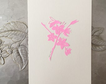 Spring Blossom and Bee Papercutting in Pink