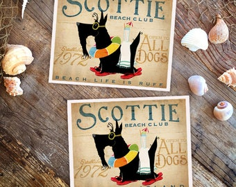 Scottie Scottish Terrier dog beach club artwork illustration in sandals graphic art signed artists print by Stephen Fowler