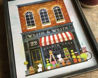Westie flower shop storefront flowers terrier dog art hand painted keepsake frame canvas artwork illustration art by stephen fowler