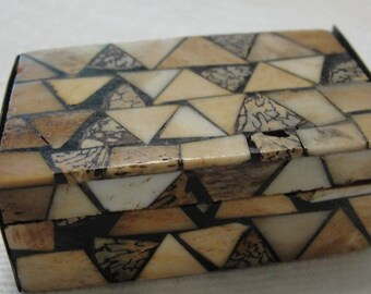 Minature Cream and Brown Mosaic Wooden Box