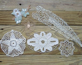 Vintage & Antique Lace Embellishment Lot...Flourish, Medallion, Applique, Tatting,  Embroidery Collection...early to mid 1900s, EL1725