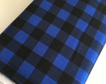 Buffalo Check fabric, Black Blue Plaid, Buffalo Check Party Decor, Quilting Sewing, 1 inch Buffalo Plaid in Turquoise, Choose the Cut