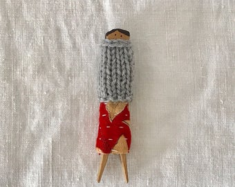 Autumn Holiday Clothes Peg Doll No. 5 Decor Handmade Holiday Gift Kantha Wool