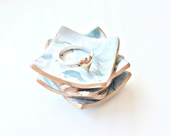 Handcrafted rose gold trimmed polymer clay faux marble ring dish