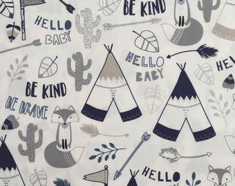 custom bandana bib ~ gray/navy brave fox ~  drool bib ~ chic couture ~ baby accessories ~ custom bandana bib from lillybelle designs
