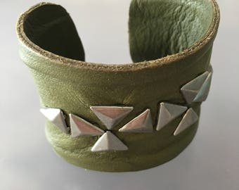 Green leather and stud cuff