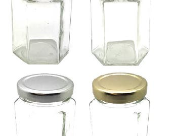 1 pc 6 oz (190 ml) Glass Hexagon Jar with your color Choice of Plastisol Lined BPA Free Lid: Gold, Silver, White, Black