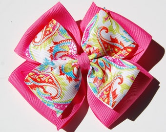 Pink and Paisley Hair Bow Pink Blue Orange