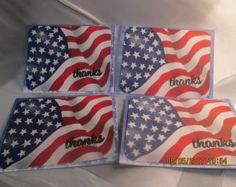 Set of Four Cards Thanks For Your Service American Flag Veteran's Day