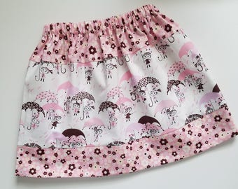 Girls Skirt size 5t Spring Skirt April Showers Pink and Brown Skirt with Umbrellas Three Tier Skirt with Flowers Unique Ready to Ship