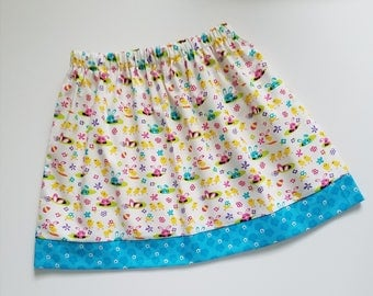 Easter Skirt with Bunnies and Chicks Girls Skirt Spring Meadow toddler skirts Kids Clothes Easter Clothes Spring Skirts Michael Miller