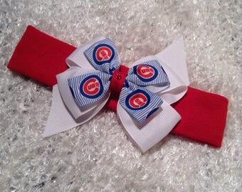 Chicago Cubs Hairbow with Interchangeable Headband, Chicago Cubs Baby, Chicago Cubs Baby Bow, Chicago Cubs Headband