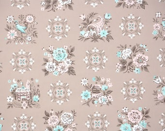 1950s Vintage Wallpaper by the Yard - Aqua and Pink Flowers with Houses Birds and Folk Designs on Brown