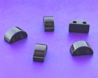 12 Magnetic Hematite 2-Hole Spacer Beads, Half-Round, Gunmetal Gray, about 6mm x 12mm x 6mm with 2.3mm Holes
