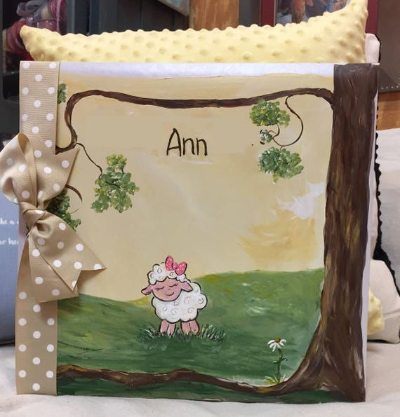 B. Little Lamb Baby Memory Book | Hand Painted CoverSweet Baby Lamb Keepsake Book |  Personalized Scrapbook Style Baby Book