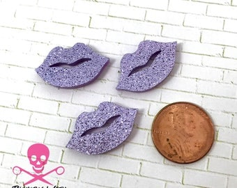 LAVENDER GLITTER  LIPS - 3 Pieces - In Laser Cut Acrylic