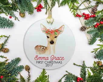 Baby's First Christmas Ornament, Personalized Ornament, Deer & Berry Crown(Girl) Ornament, Baby's 1st Christmas 2017 Ornament Gift