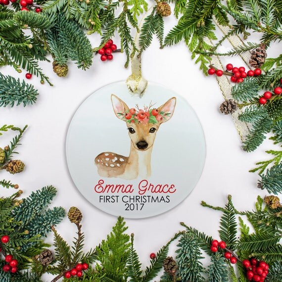 baby s first christmas ornament personalized ornament deer berry