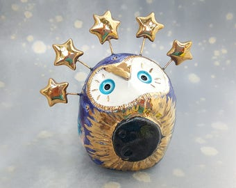 Eclipse Owl with Gold Stars and Sparkling Moon