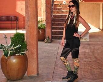 Qadesh Festival Pants - Womens leggings - lace leggings - pocket leggings - Tiger Leggings - Spandex Pants - Festival clothing - dance pants