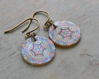 Mother of Pearl Earrings, Mandala Style Earrings, Yoga Jewelry, Colourful Earrings, Blue Kaleidoscope, Shell Charm Earrings, Gift for Her
