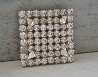Square Rhinestone Brooch, Vintage Pin, Deco Style Jewelry, Mad Men 1960s Jewelry, Something Old, Vintage Bride, Brooch Bouquet, Le Printemps